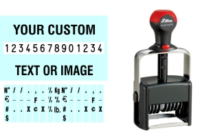 Order Now! Shiny 6414/PL Number Stamp with Text. Add customized text or artwork around the 14 adjustable number bands. Free Shipping. No Sales Tax - Ever!