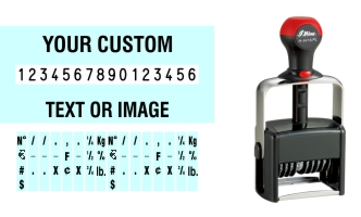 Order Now! Shiny 6416/PL Number Stamp with Text. Add customized text or artwork around the 16 adjustable number bands. Free Shipping. No Sales Tax - Ever!