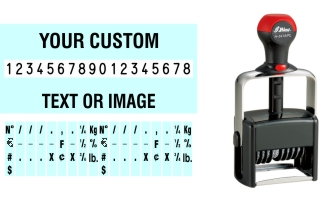 Order Now! Shiny 6418/PL Number Stamp with Text. Add customized text or artwork around the 18 adjustable number bands. Free Shipping. No Sales Tax - Ever!