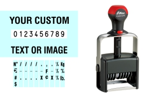 Order Now! Shiny 64410/PL Number Stamp with Text. Add customized text or artwork around the 10 adjustable number bands. Free Shipping. No Sales Tax - Ever!