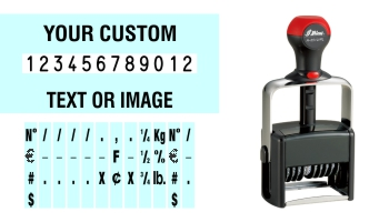 Order Now! Shiny 6512/PL Number Stamp with Text. Add customized text or artwork around the 12 adjustable number bands. Free Shipping. No Sales Tax - Ever!