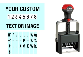 Order Now! Shiny 6558/PLNumber Stamp with Text. Add customized text or artwork around the 8 adjustable number bands. Free Shipping. No Sales Tax - Ever!