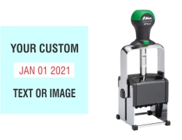 Heavy duty Shiny custom date stamps made daily online. Add your custom text to a heavy duty changeable date stamp with 11+ year bands. All date stamps manufactured same day. 100% guaranteed. No sales tax ever.