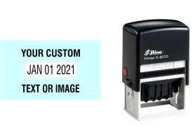 Shiny custom date stamps made daily online. Add your custom text to a changeable date stamp with 11+ year bands. All date stamps manufactured same day. 100% guaranteed. No sales tax ever.