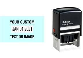 Shiny custom date stamps made daily online. Add your custom text to a changeable date stamp with 11+ year bands. All date stamps manufactured same day. 100% guaranteed. Excellent customer service.