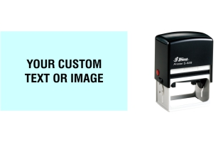 "Shiny S-829 Self-inking Stamp are custom made daily. Impression size of 1-9/16"" x 2-1/2"". Enter text or upload your own artwork. Choose from 8 ink colors. Same day shipping. No sales tax - ever!"