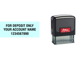 Shiny 853 compact self-inking bank endorsement stamp made daily online! Free Same Day Shipping. No sales tax - ever!