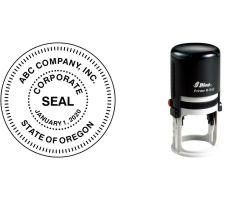 Order Now! Shiny 542R Round Corporate Seal Stamp. Designed for use with corporations, government seals, and other official applications. Free Shipping. No Sales Tax - Ever!
