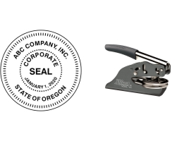 """Order Now! EZ Hand Held Corporate Seal Embosser with a 1-5/8"""" round impression. Enter your information, choose the alignment, and checkout. Free Shipping! No Sales Tax - Ever!"""