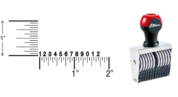 Shiny Traditional Number Stamps shipped daily online. Over-sized band wheels make adjusting numbers easy. Use with a separate ink pad of your choice. 100% Guaranteed. No sales tax ever.