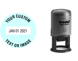 Order Now! Trodat 46140 Round Date Stamps. Add custom text or artwork around the adjustable date. Free Shipping. No Sales Tax - Ever!