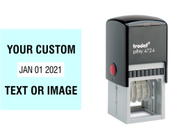 Order Now! Trodat Printy 4724 Plastic Date Stamp. Add custom text or artwork around the adjustable date. Free Shipping. No Sales Tax - Ever!