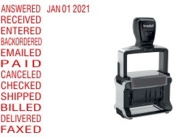 """Order Now! Trodat 5117 Dial-A-Phrase Date Stamp. 5/32"""" tall date, 10+ years, multiple phrases, 8 ink colors to choose from. Free Shipping. No Sales Tax - Ever!"""