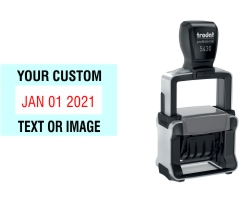 Order Now! Trodat 5430 Date Stamp. Add lines of text or upload artwork to imprint around the date Free Shipping. No Sales Tax - Ever!