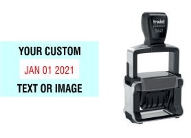 Order Now! Trodat 5440 Date Stamp. Add lines of text or upload artwork to imprint around the date Free Shipping. No Sales Tax - Ever!