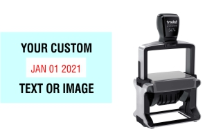 Order Now! Trodat 5474 Date Stamp. Add lines of text or upload artwork to imprint around the date Free Shipping. No Sales Tax - Ever!