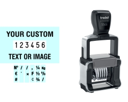 Order Now! Trodat 5546/PL Number Stamp with Text. Add customized text or artwork around the 6 adjustable number bands. Free Shipping. No Sales Tax - Ever!