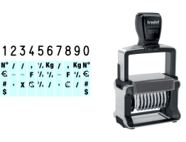 Order Now! Trodat 55510 Number Stamp. Comes with 10 adjustable number bands with digits 0-9 and other symbols. Free Shipping. No Sales Tax - Ever!