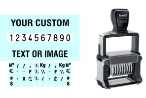 Order Now! Trodat 55510/PL Number Stamp with Text. Add customized text or artwork around the 10 adjustable number bands. Free Shipping. No Sales Tax - Ever!