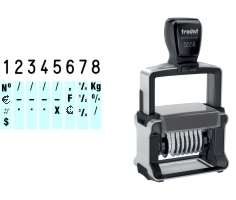 Order Now! Trodat 5558 Number Stamp. Comes with 8 adjustable number bands with digits 0-9 and other symbols. Free Shipping. No Sales Tax - Ever!