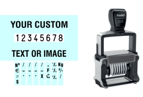 Order Now! Trodat 5558/PL Number Stamp with Text. Add customized text or artwork around the 8 adjustable number bands. Free Shipping. No Sales Tax - Ever!