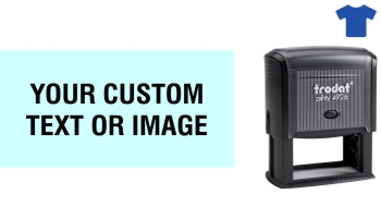 Order Now! Trodat Printy 4926 Fabric Stamp. Add lines of text, upload artwork, or both. Free Shipping. No Sales Tax - Ever!