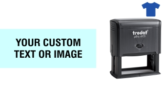 Order Now! Trodat Printy 4931 Fabric Stamp. Add lines of text, upload artwork, or both. Free Shipping. No Sales Tax - Ever!
