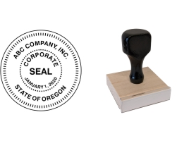 Order Now! Corporate Seal Traditional Wood Stamp. Designed for use with corporations, government seals, and other official applications. Free Shipping! No Sales Tax - Ever!