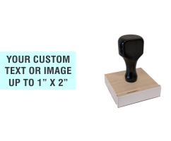 """Order Now! 1"""" x 2"""" Traditional Knob Handle Wood Stamps. Assembled by hand with your custom text or artwork. Free Shipping. No Sales Tax - Ever!"""