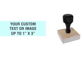 "Order Now! 1"" x 3"" Traditional Knob Handle Wood Stamps. Assembled by hand with your custom text or artwork. Free Shipping. No Sales Tax - Ever!"