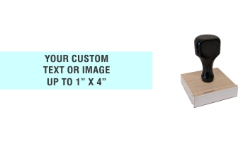 """Order Now! 1"""" x 4"""" Traditional Knob Handle Wood Stamps. Assembled by hand with your custom text or artwork. Free Shipping. No Sales Tax - Ever!"""