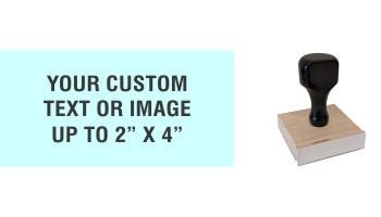 """Order Now! 2"""" x 4"""" Traditional Knob Handle Wood Stamps. Assembled by hand with your custom text or artwork. Free Shipping. No Sales Tax - Ever!"""