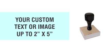 """Order Now! 2"""" x 5"""" Traditional Knob Handle Wood Stamps. Assembled by hand with your custom text or artwork. Free Shipping. No Sales Tax - Ever!"""
