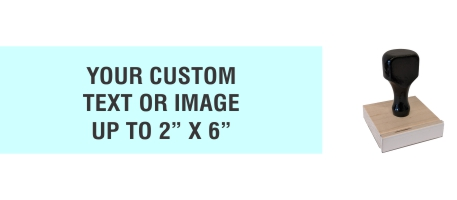 """Order Now! 2"""" x 6"""" Traditional Knob Handle Wood Stamps. Assembled by hand with your custom text or artwork. Free Shipping. No Sales Tax - Ever!"""