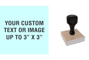 "Order Now! 3"" x 3"" Traditional Knob Handle Wood Stamps. Assembled by hand with your custom text or artwork. Free Shipping. No Sales Tax - Ever!"