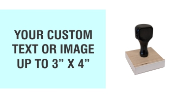 """Order Now! 3"""" x 4"""" Traditional Knob Handle Wood Stamps. Assembled by hand with your custom text or artwork. Free Shipping. No Sales Tax - Ever!"""