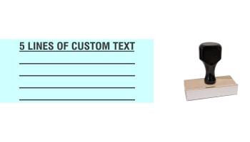 Order Now! 5 Line Knob Handle Wood Stamps. Assembled by hand with you custom text added on 5 lines. Free Shipping. No Sales Tax - Ever!