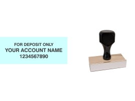 Order Now! Wood Knob 'For Deposit Only' endorsement stamps are perfect for regular or mobile deposits. Free Shipping. No Sales Tax - Ever!