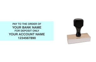 Order Now! Wood Knob Standard Check Endorsement Stamp. Just enter your bank, name and account number. Free shipping. No Sales Tax - Ever!