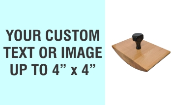 """Order Now! 4"""" x 4"""" Wood Rocker Stamps. Assembled by hand with your custom text or artwork. Free Shipping. No Sales Tax - Ever!"""