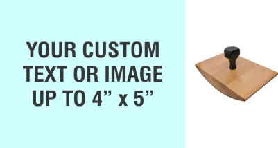 """Order Now! 4"""" x 5"""" Wood Rocker Stamps. Assembled by hand with your custom text or artwork. Free Shipping. No Sales Tax - Ever!"""