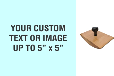 """Order Now! 5"""" x 5"""" Wood Rocker Stamps. Assembled by hand with your custom text or artwork. Free Shipping. No Sales Tax - Ever!"""