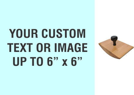 """Order Now! 6"""" x 6"""" Wood Rocker Stamps. Assembled by hand with your custom text or artwork. Free Shipping. No Sales Tax - Ever!"""