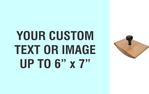 """Order Now! 6"""" x 7"""" Wood Rocker Stamps. Assembled by hand with your custom text or artwork. Free Shipping. No Sales Tax - Ever!"""