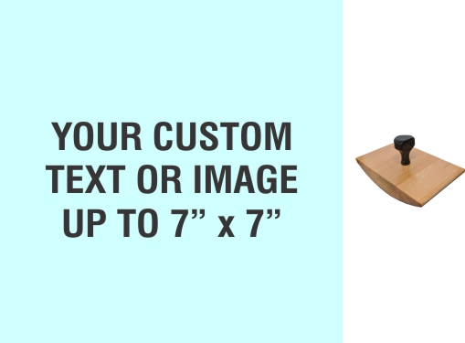 """Order Now! 7"""" x 7"""" Wood Rocker Stamps. Assembled by hand with your custom text or artwork. Free Shipping. No Sales Tax - Ever!"""