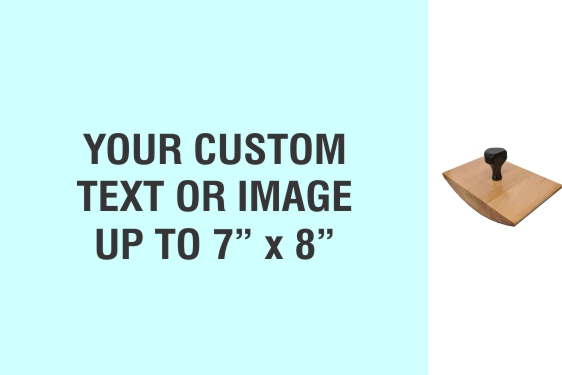 """Order Now! 7"""" x 8"""" Wood Rocker Stamps. Assembled by hand with your custom text or artwork. Free Shipping. No Sales Tax - Ever!"""