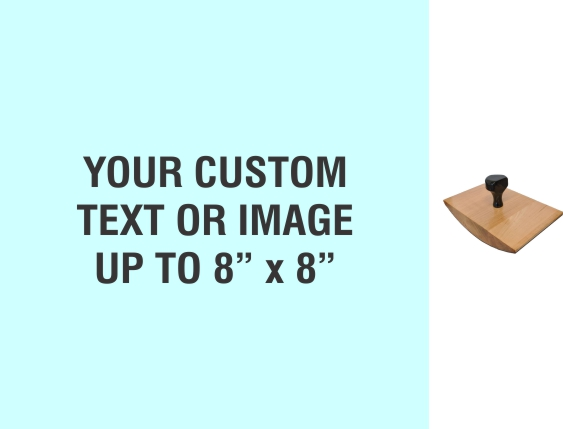 """Order Now! 8"""" x 8"""" Wood Rocker Stamps. Assembled by hand with your custom text or artwork. Free Shipping. No Sales Tax - Ever!"""